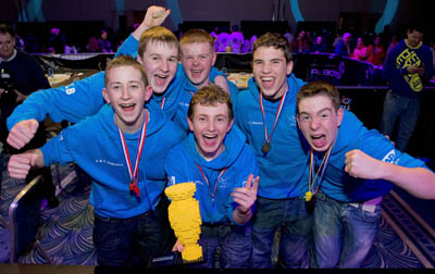 Students Adrian Murphy, Donnacha Barry, Paul Murray, Luke  Benson, Oisin Kyne and Paul McDonagh from St Gerard's Secondary School in Castlebar, Co Mayo. The team won the Irish leg of the First LEGO League in 2011